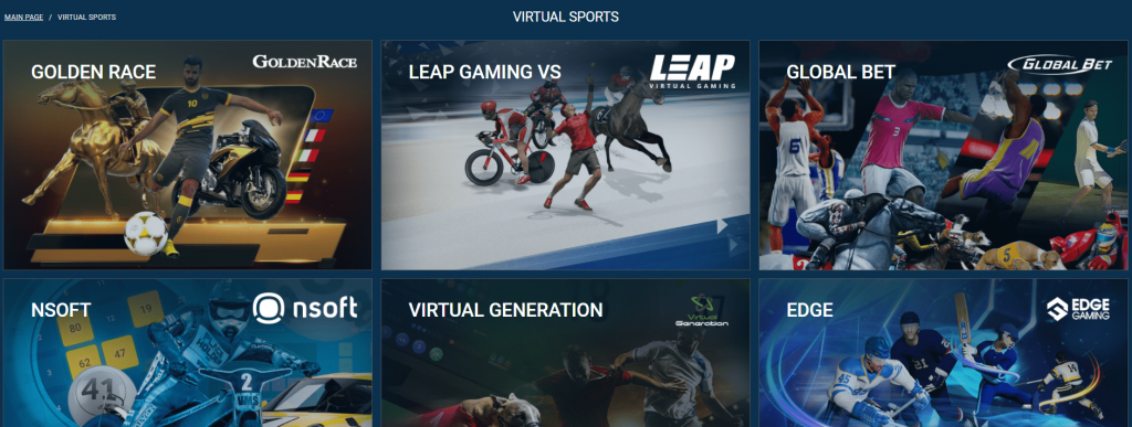 Virtual Sports page on the 1xbet website